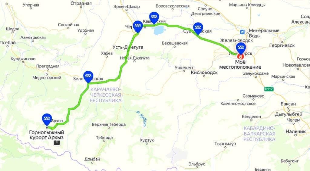маршрут экскурсии в архыз